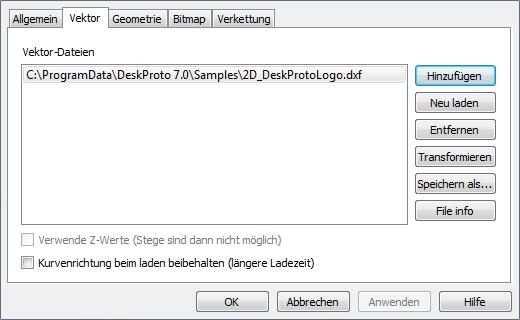 2D Vektor DXF laden