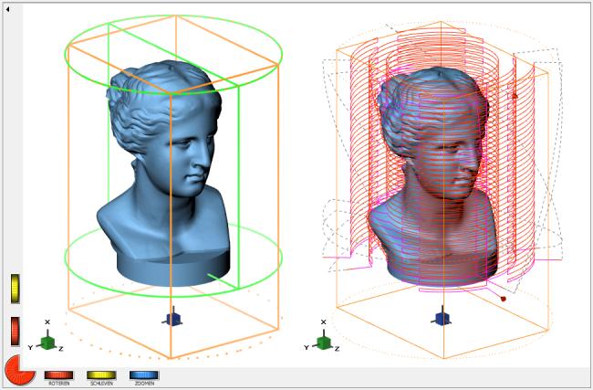 Screenshot der Geometrie und der Werkzeugwege in einem rechteckigen Rohteil